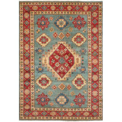 One-of-a-Kind Bernard Traditional Hand-Knotted Wool Light Blue/Red Indoor Area Rug