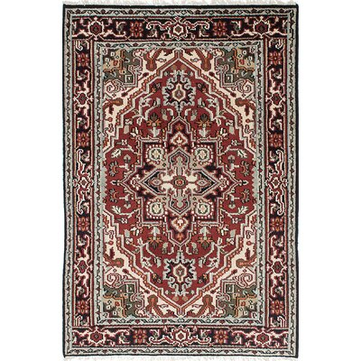 One-of-a-Kind Larsen Oriental Hand-Knotted Wool Dark Red Area Rug Rug Size: 4 x 6