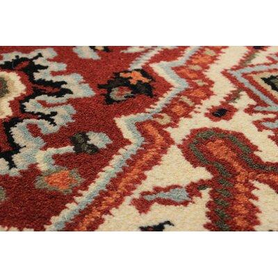 Larsen Oriental Hand-Knotted Wool Dark Red Area Rug Rug Size: 4 x 6