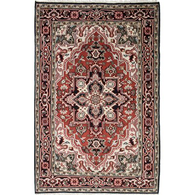 Larsen Hand-Knotted Wool Black/Dark Burgundy Area Rug