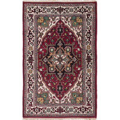 Larsen Hand-Knotted Rectangle Wool Dark Red Area Rug