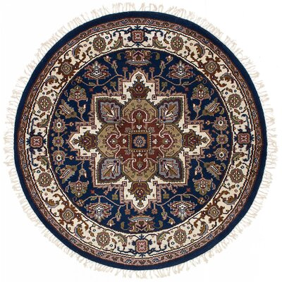 One-of-a-Kind Larsen Hand-Knotted Wool Dark Navy Area Rug
