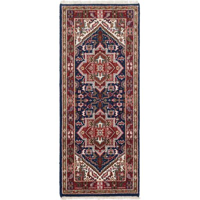 One-of-a-Kind Larsen Hand-Knotted Wool Navy Blue Area Rug Rug Size: 28 x 67