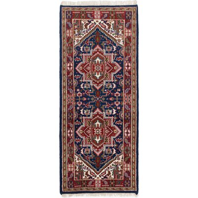 One-of-a-Kind Larsen Hand-Knotted Wool Navy Blue Area Rug Rug Size: 29 x 68