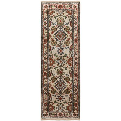 One-of-a-Kind Larsen Hand-Knotted Wool Cream/Brown Area Rug