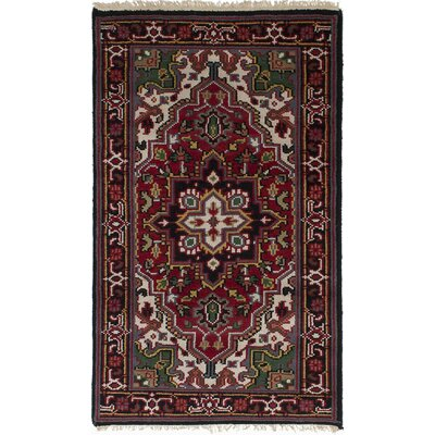 Larsen Hand-Knotted 100% Wool Red Area Rug