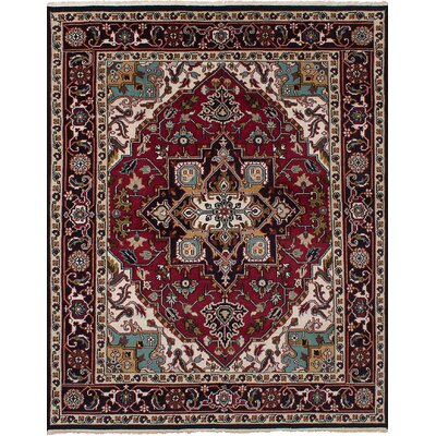 Larsen Hand-Knotted 100% Wool Dark Red Area Rug