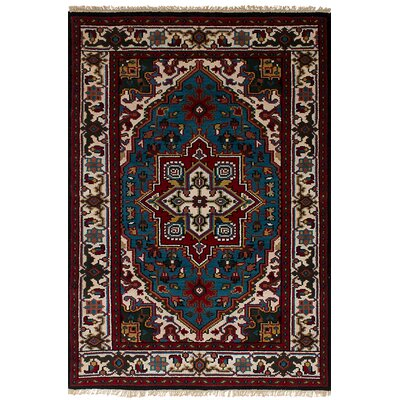 Larsen Hand-Knotted Wool Blue/Red Area Rug