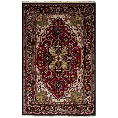 Larsen Hand-Knotted Wool Red Fringe Area Rug