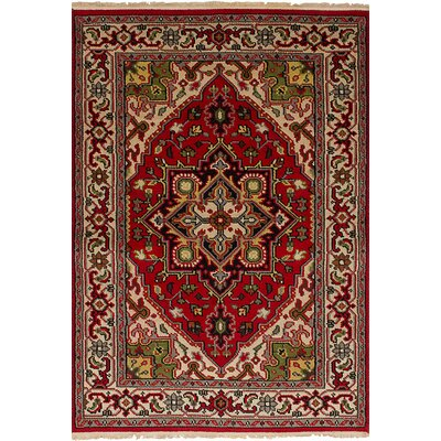Larsen Hand-Knotted Wool Red Area Rug