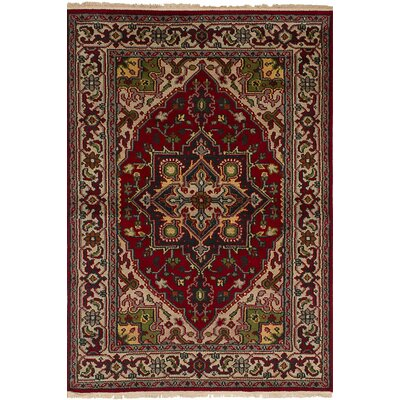 Larsen Oriental Hand-Knotted Rectangle 100% Wool Dark Red Area Rug
