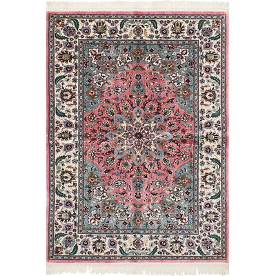 Sawah Lunto Hand-Knotted Silk Pink Area Rug