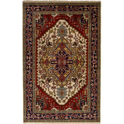 One-of-a-Kind Lenita Handmade Wool Cream/Red Area Rug