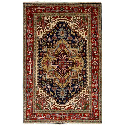 One-of-a-Kind Lenita Handmade Wool Navy Blue/Red Area Rug Rug Size: Rectangle 511 x 87