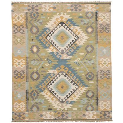 Pavlatka Kilim Hand-Woven Wool Olive/Tan Area Rug Rug Size: Rectangle 8 x 10
