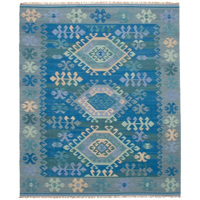 Pavlatka Kilim Hand-Woven Wool Blue/Gray Area Rug Rug Size: Rectangle 8 x 10