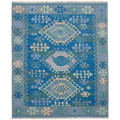 Pavlatka Kilim Hand-Woven Wool Blue/Gray Area Rug Rug Size: Rectangle 8 x 10