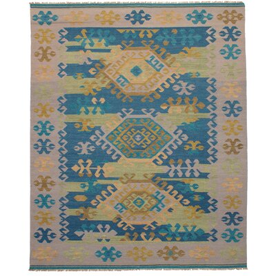 Pavlatka Kilim Hand-Woven Wool Khaki/Turquoise Area Rug Rug size: Rectangle 8 x 10