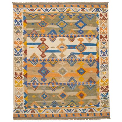 Pavlatka Kilim Hand-Woven Wool Cream/Blue Area Rug Rug size: Rectangle 8 x 10
