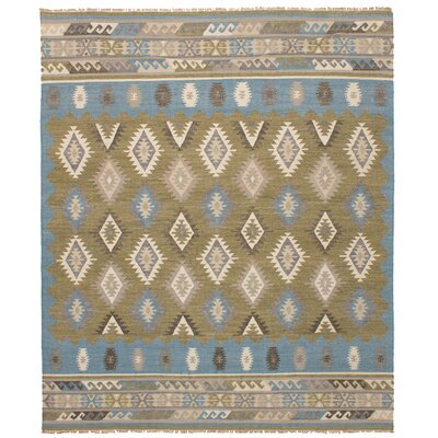 Norwell Wool Dark Baby Blue/Olive Area Rug