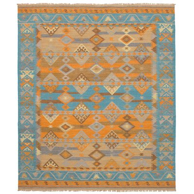 Norwell Wool Orange/Turquoise Area Rug
