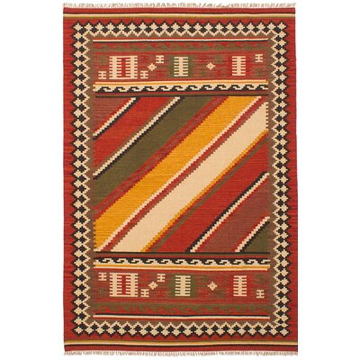 One-of-a-Kind Leonie Handmade Wool Red Area Rug