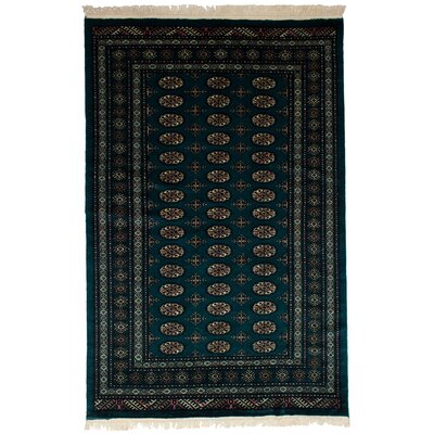 Leticia Hand-Knotted Wool Dark Green Area Rug
