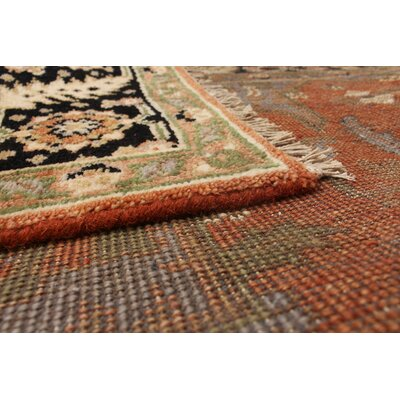 Lenita Hand-Knotted Rectangle Wool Dark Copper Oriental Area Rug