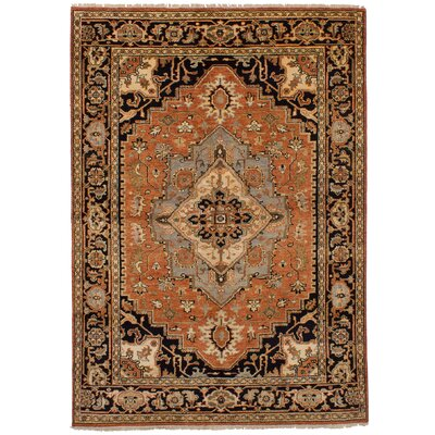 Lenita Hand-Knotted Rectangle 100% Wool Dark Copper Area Rug