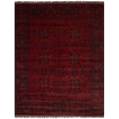 Lelia Hand-Knotted Rectangle Wool Red Fringe Area Rug
