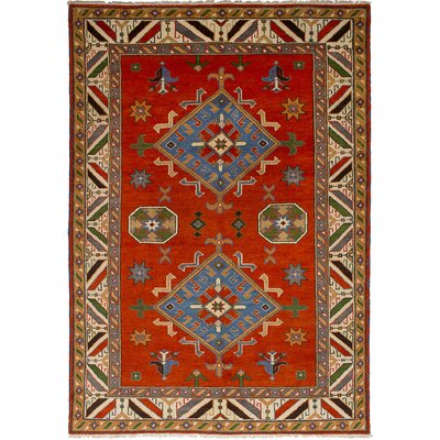 Lesa Hand-Knotted Wool Dark Copper Oriental Area Rug