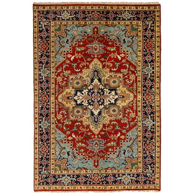 Lenita Hand-Knotted Wool Light Blue/Red Area Rug