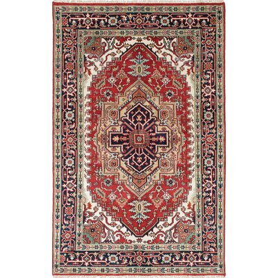 One-of-a-Kind Lenita Handmade Wool Navy Blue/Red Oriental Area Rug