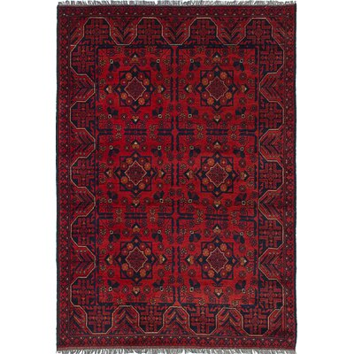 Lelia Hand-Knotted 100% Wool Red Oriental Area Rug