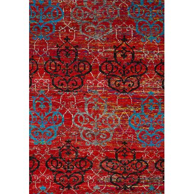 Baldric Hand-Knotted Sari Silk Red Area Rug