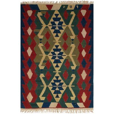 One-of-a-Kind Novak Handmade Wool Navy Blue/Red Area Rug