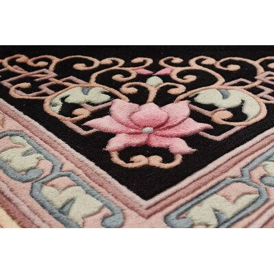 Link Hand-Knotted Wool Black Area Rug