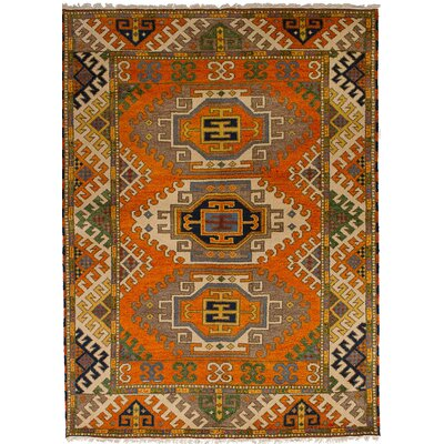 Lesa Hand-Knotted Wool Orange Area Rug