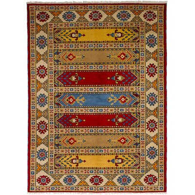 Lesa Hand-Knotted Wool Red/Tan Area Rug