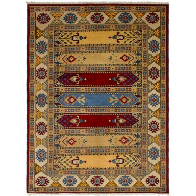 One-of-a-Kind Lesa Handmade Wool Tan Area Rug