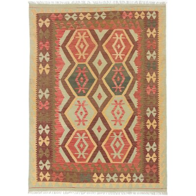 One-of-a-Kind Novalie Handmade Wool Dark Burgundy/Light Orange Area Rug