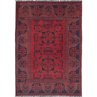 Lelia Hand-Knotted Rectangle 100% Wool Red Indoor Area Rug