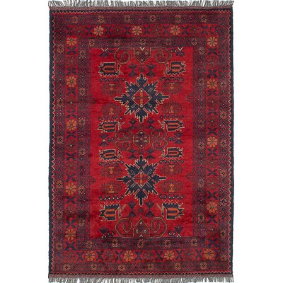 Lelia Hand-Knotted 100% Wool Red Indoor Area Rug