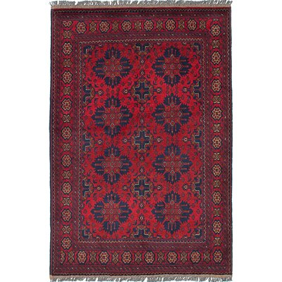 Lelia Hand-Knotted Rectangle 100% Wool Red Oriental Area Rug