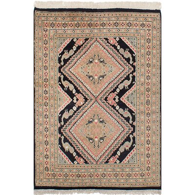 One-of-a-Kind Lela Handmade Wool Black Area Rug