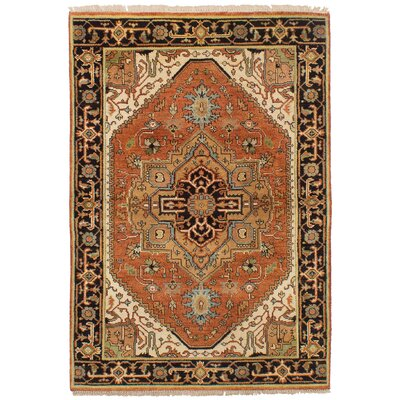 Lenita Hand-Knotted Wool Copper Oriental Area Rug