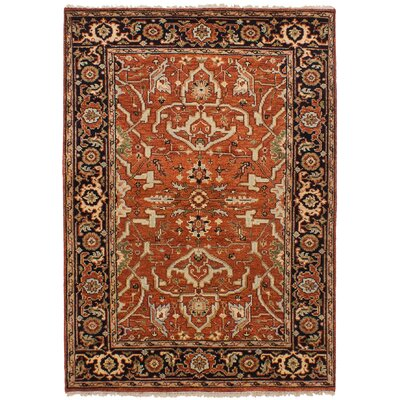 Lenita Hand-Knotted Rectangle Wool Dark Copper Area Rug