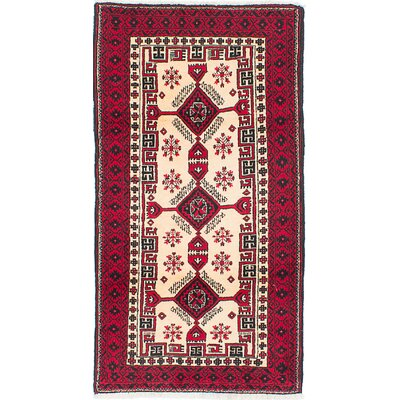 One-of-a-Kind Leo Handmade Wool Cream/Red Area Rug
