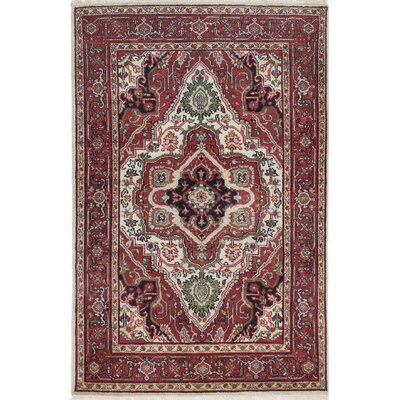 Lenita Hand-Knotted Wool Dark Orange/Red Area Rug