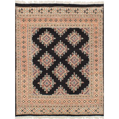 Lela Hand-Knotted Rectangle Wool Black Area Rug
